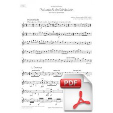 Mussorgsky: Quadres duna exposició per a Flauta, Clarinet, Violí, Violoncel i Piano (Parts) [PDF]